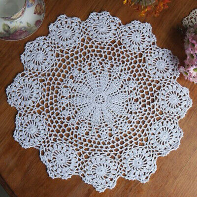 Pure Cotton Handmade Crochet Lace Doily Placemat Round Flower Coaster Mat White