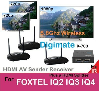 Wireless 5.8GHz HDMI AV Sender / 2Receivers+ Splitter for TV Foxtel IQ2 IQ3 IQ4