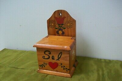 Vintage French Salt Box, arts and crafts hand painted Storage Sel 30B container