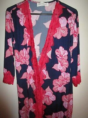 Ladies Peter Alexander navy/red floral dressing gown robe Size M