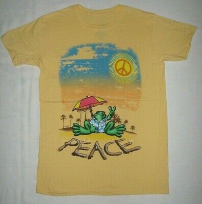 T-Shirt Peace Frogs Beach Sand Sunshine Sunny Umbrella Crewneck New MEDIUM