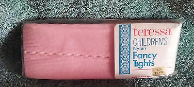 2 Pairs Girls Vintage Nylon Fancy Tights 1-2 years Pink by Teressa SPECIAL OFFER