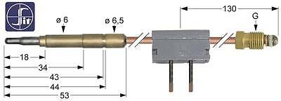 Sit Thermocouple with Circuit Breaker Length 600mm Socket Ø6 , 0mm M9x1