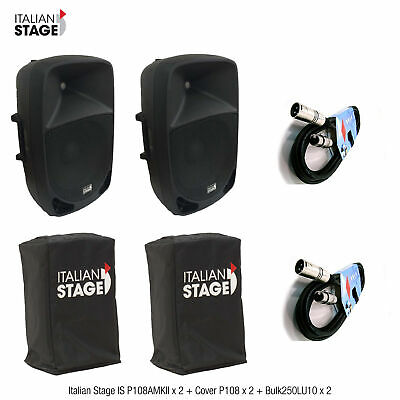 Italian Stage IS P108AMKII 2 Casse amplificate 8p max300W + 2COVER + 2Cavi 10mt