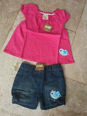 Bnwt Crazy 8 Bird Blouse & Denim Shorts Set Age 5