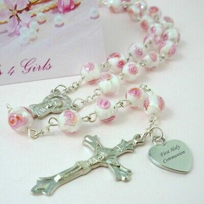 Personalised Rosary Beads, Engraved Gift for First Communion, Goddaughter etc