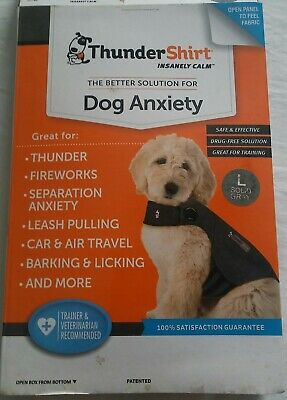 THUNDERSHIRT Insanely Calm Classic Dog Anxiety Jacket Large Solid Gray, EUC