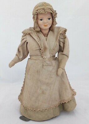 Antique Clockwork Dancing or Spinning Doll Original Clothes 8 inches Circa 1910
