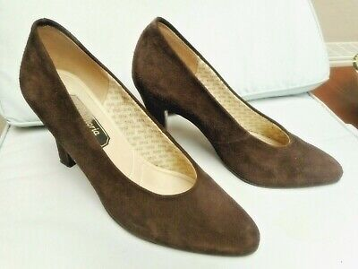 """Brown Suede Shoes Size 5.5 by Victoria 3.5"""" Heel"""