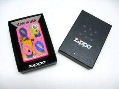 Zippo 29086 Full Size Neon Pink Multicolored Lips Classic Windproof Lighter
