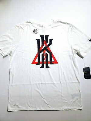 c1362974f Nike Kyrie Irving Triangle Inferno Warning White T-Shirt 917372 100 Mens SZ  XL