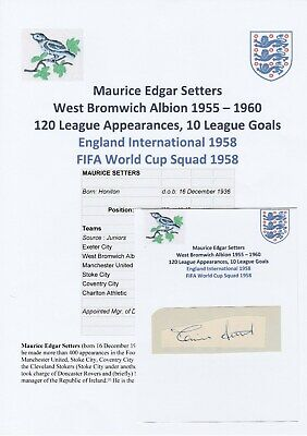 Maurice Setters West Bromwich Albion Rare Original Football Autograph Cutting