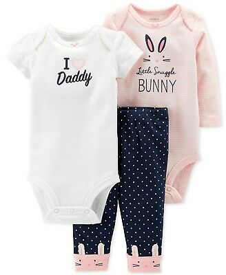 Baby Girls 3-Pc. Carters Cotton Bunny Bodysuits & Pants Set 6 months