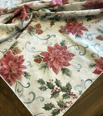 "Vintage Christmas Tablecloth Poinsettias Pinecones Damask 99"" X 58"" Rectangle"