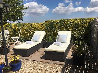 Garden Rattan Sun Loungers - Set of Two & Side Table - NEW- Luxury Hotel Quality