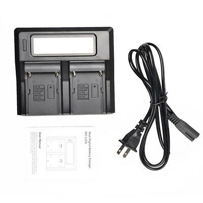 LCD Display Dual 2-Battery Charger Fit For Sony NP-F970 F960 F950 F770 F750&F550