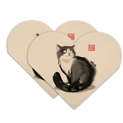 Cat Traditional Chinese Ink Painting Heart Faux Leather Bookmark - Set of 2