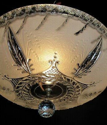 Vintage Deco Era Glass Shade Ceiling Light Chandelier Fixture 1940