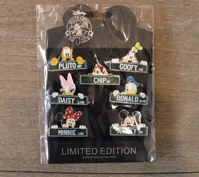 "Walt Disney World Park Trading Pin ""Street Signs"" complete set of 7"