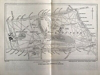 Old Original Vintage Sketch Map Of Hyde Park And Kensington Gardens, London 1935
