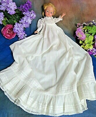 Original ANTIQUE doll dress LONG Christening GOWN for small doll Bye-Lo baby
