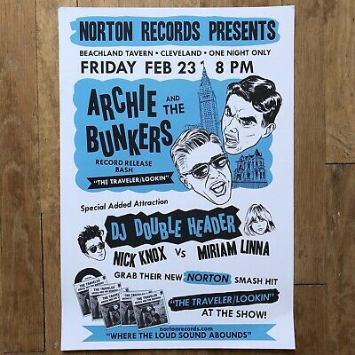 "Archie and the Bunkers 19"" by 13"" Poster Norton Records In the Red Nick Knox"