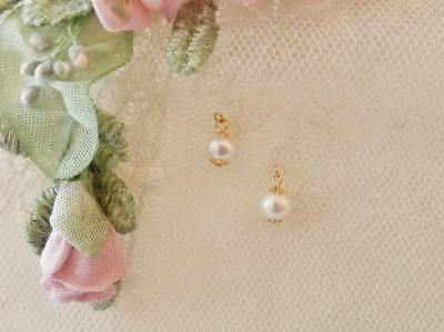 Antiqu Doll Jewelry~Freshwater Pearls~Earring for Jumeau Bru,French ladies