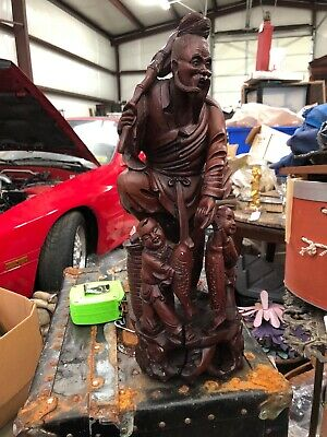 """Antique Chinese Carved Wood Immortal or Fisherman with Fish & Basket  16"""""""
