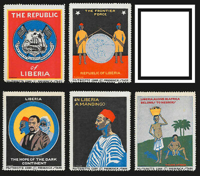 Rare - Liberia poster stamps, old posterette corp. set of 6