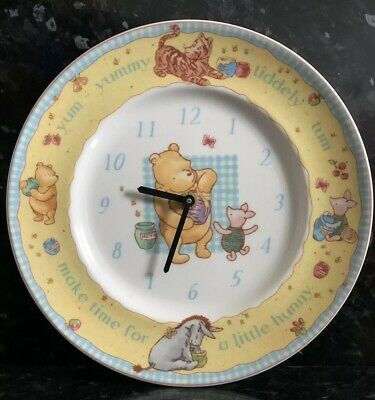 Official Disney Winnie The Pooh Gift Collection Plate Wall Clock / Royal Doulton