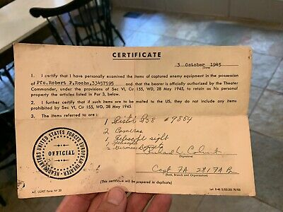 US WW2 War Booty Bring Back Document Signed