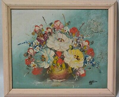 Vintage French Oil Painting Flowers Floral Bouquet Still Life Signed