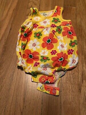Carter's Infant Girls Orange Green Yellow One Piece Outfit Flower 6 Months
