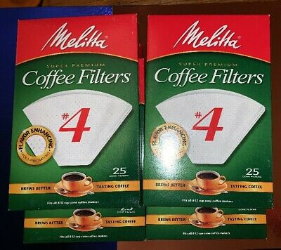 (4) 25 Count Boxes Melitta #4 Coffee Filters FITS ALL 8-12 CUP CONE COFFEE MAKER
