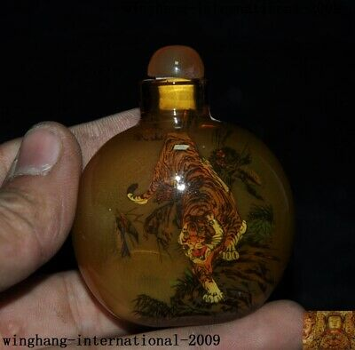 China dynasty glass internal Painted ferocious animal tiger snuff bottle statue