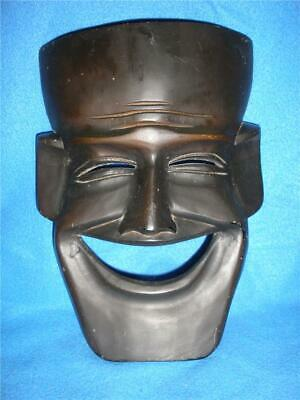 Stunning Hand Carved Wooden Smiling Face Hanging Mask Brown