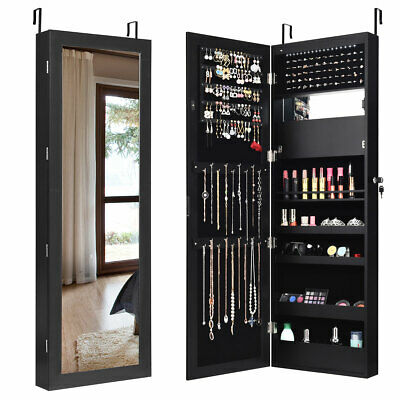 Lockable Mirror Jewelry Cabinet Armoire Organizer Wall Door Mounted w/LED Lights