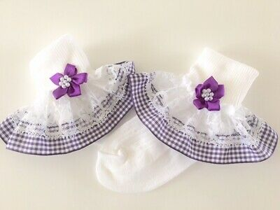 Handmade purple gingham frilly lace socks baby/girls school summer