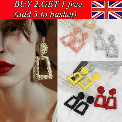 Fashion Punk Jewelry Geometric Dangle Drop Earrings Metal Statement Big Gold .R