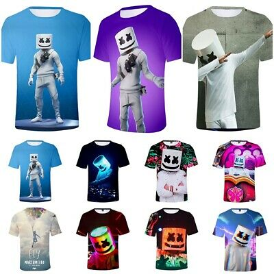 Men Women Unisex Marshmello DJ Music T-Shirt Game Dance Festival Mask Tee Top