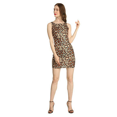 Ladies Dress Square Neck Sleeveless Leopard Pattern Bodycon Party Mini Dress 6A