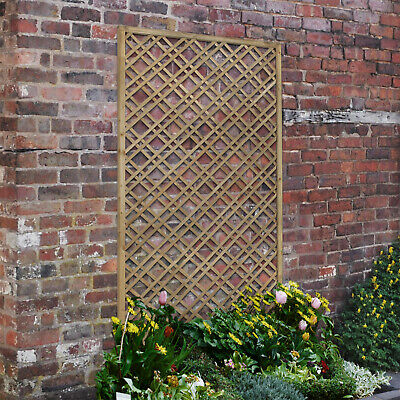 Forest 6' x 3' Pressure Treated Timber Double Slatted Diamond Wooden Lattice NEW