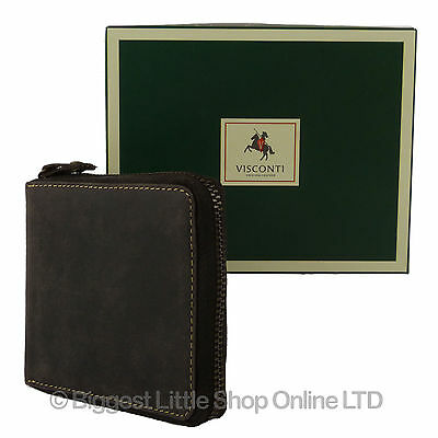NEW Mens QUALITY Leather Zip Around Wallet by VISCONTI Oiled Brown Gift Boxed