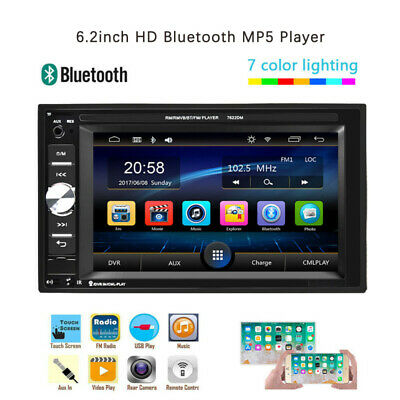 "Double 2Din 6.2"" Car Stereo Radio MP5 Player Bluetooth FM AUX USB  Touch Screen"