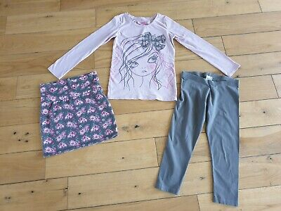NEXT Girls Top Skirt Leggings Set Outfit Age 10 Pink Floral