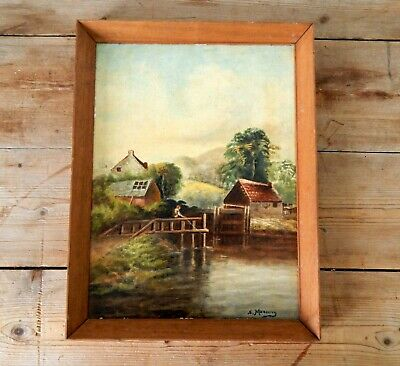 Antique Vintage Oil on Board Painting Idyllic Riverside Scene Rural Countryside