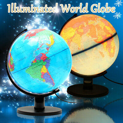 25cm Rotating Earth Globe&Night Light World Map Swivel Geography Educational Toy