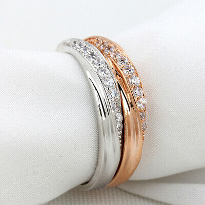 Women Rings Heart Cubic Zirconia Gold Plated Jewelry Fashion Engagement Ring 6A
