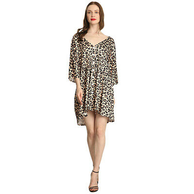 Ladies Dress Midi Sleeve Leopard Printed Button V-Neck Holiday Loose Dress 6A