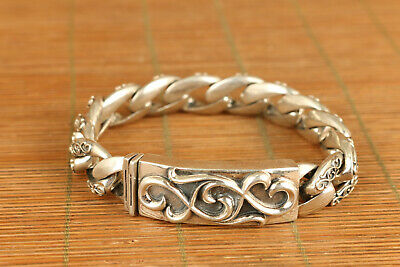 104g chinese old s925 solid silver carved flower bracelet noble gift